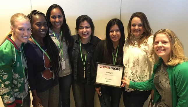 Seven girls standing and holding a commemorative certificate featuring the phrase: CRIMEHACK4.