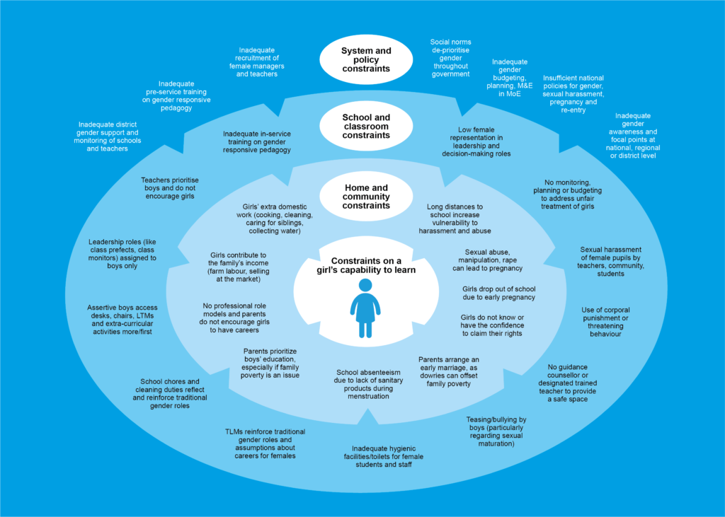 An informational graphic illustration of the different types and level of constraint on girls' capability to learn in four concentric areas labeled (from inner to outer): Constraints on a girls capability to learn; Home and community constraints; School and classroom constraints; and, System and policy constraints. From Think Education Series of think pieces on the challenges facing global education.