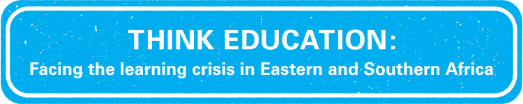 Blue banner with the words Think Education: Facing the learning crisis in eastern and Southern Africa
