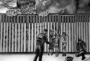 A hand-drawn pencil sketch depicting young children at a fenced boder crossing detained by security personnel as a small but larger-than-life-sized child looks down from above and from beyond the fence.