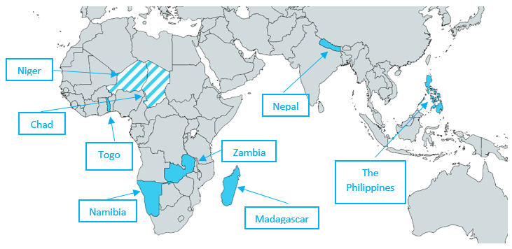 A map of Africa and Asia with the following countries highlighted: Chad, Madagascar, Namibia, Nepal, the Niger, the Philippines, Togo and Zambia.