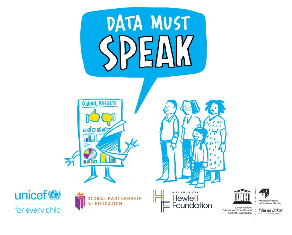 A graphic featuring an animated poster titled 'School results' with a speech bubble saying 'Data Must Speak' directed at three adults and a child. Logos featured at the bottom are of: UNICEF, Global Partnership for education, hewlett Foundation, UNESCO, International Institute fro Educational Planning and Pole de Dakar.