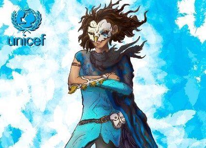 A graphic of a masked boy in a cape levitating, on a blue background.