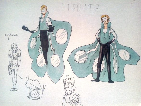 A sketch study of a man with mirrors as wings standing in various poses.