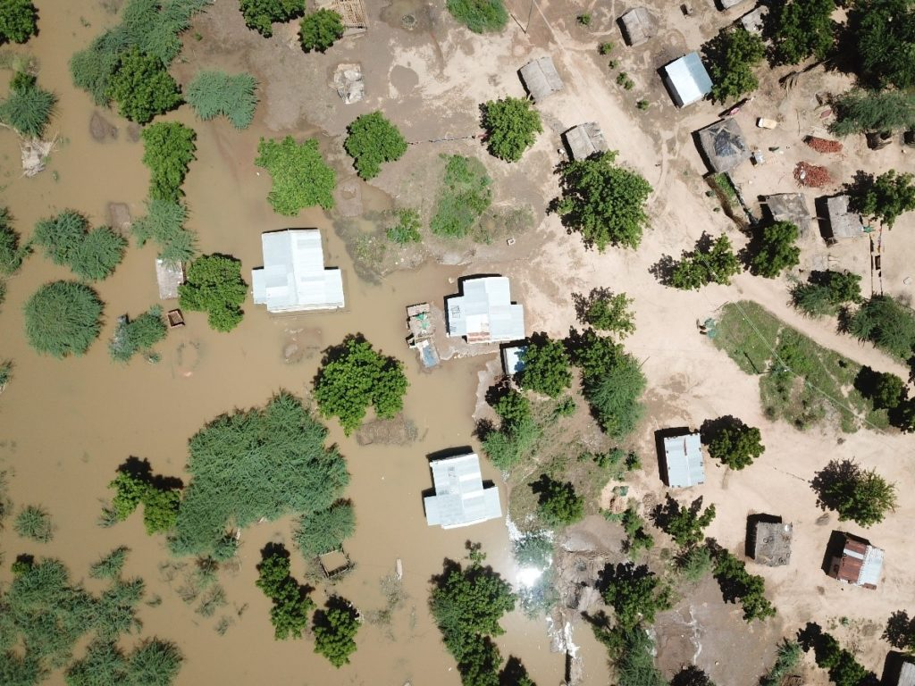 Aerial view of houses, vegetation and some flooding.