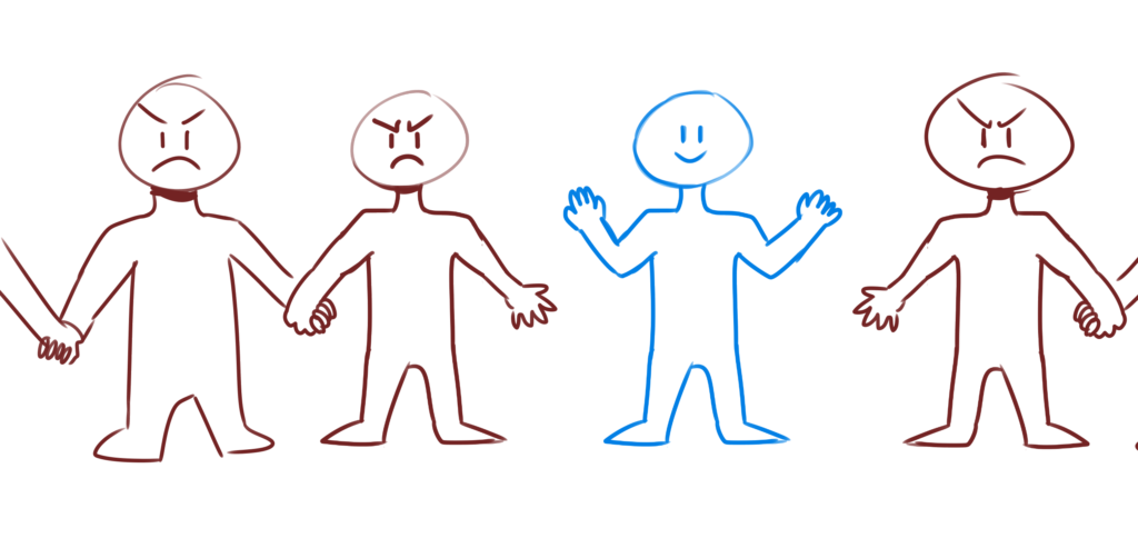 A hand-drawn illustration depicting human figure - three angry and one one happy and part of a broken human chain.