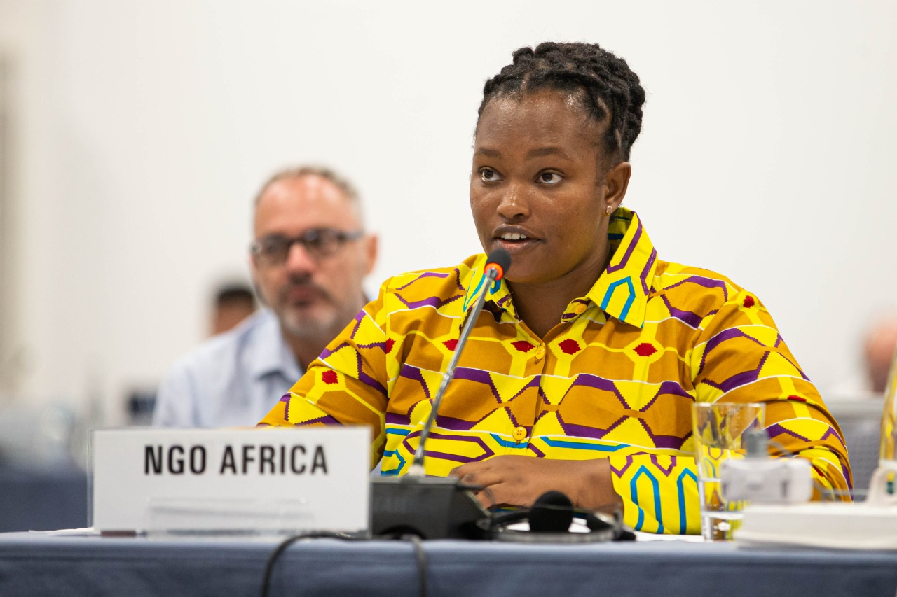 A woman in a yellow dress sits talks into a microphone at a table with a sign that reads 'NGO Africa'.'