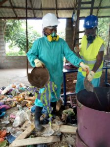 Factory workers in a recycling factory