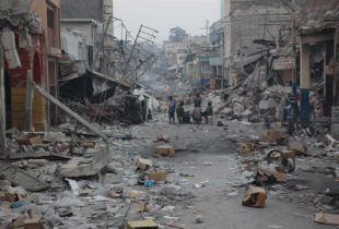 A long view of devastation in the street of Port-au-prince, Haiti, after the earthquake